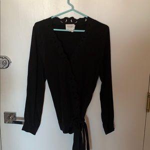 Sezane silk wrap blouse, size 44 (12/14)